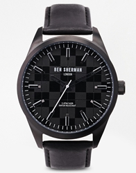 Ben Sherman Black Leather Strap Watch Wb007b