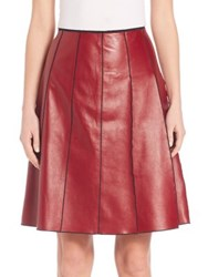 Marc Jacobs Seamed Leather Skirt Burgundy