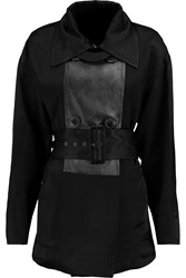 Vivienne Westwood Malady Leather Trimmed Satin Twill Trench Black