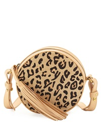 Cynthia Vincent Agatha 2 Leopard Print Leather Crossbody Bag Tan
