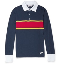 Michael Bastian Long Sleeved Striped Cotton Polo Shirt Blue