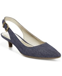 Anne Klein Expert Kitten Heel Pumps Denim Blue