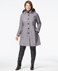 Dkny Plus Size A Line Trench Coat Silver