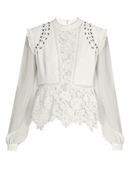 Self Portrait Lace Up Shoulder Crepe Blouse Cream