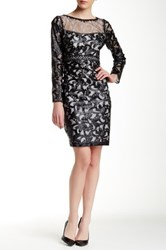 Sue Wong Long Sleeve Lace Embroidered Dress Black
