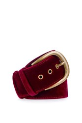 Topshop Wide Velvet Belt Burgundy