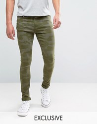 Brooklyn Supply Co. Co Super Skinny Fit Jeans In Green Camo Green