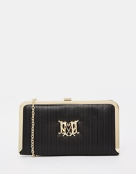 Love Moschino Satin Evening Clutch Bag Black