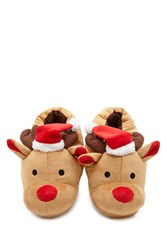 Forever 21 Holiday Reindeer Slippers Tan Red