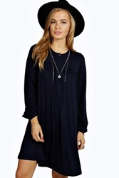 Boohoo Amy Long Sleeve Button Detail Swing Dress Navy