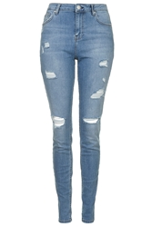 Topshop Tall Moto Bleach Authentic Ripped Skinny Jeans