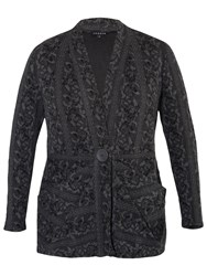 Chesca Rose Jacquard Cardigan Charcoal
