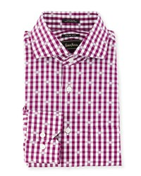 Neiman Marcus Trim Fit Check Dress Shirt Berry