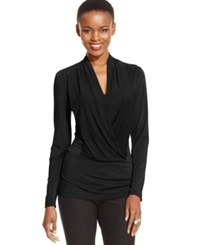 Eci Long Sleeve Draped Top Black