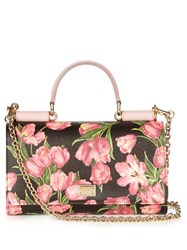 Dolce And Gabbana Mini Von Tulip Print Leather Cross Body Bag Black Pink
