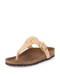 Neiman Marcus Made In Italy Christie Leather Thong Sandal Nude