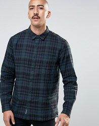 Pull And Bear Pullandbear Checked Shirt In Green In Regular Fit Khaki