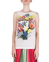 Mary Katrantzou Floral Embroidered Sleeveless Silk Top White