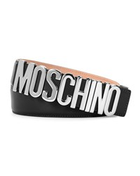 Moschino Metal Logo Adjustable Leather Belt Women's Black