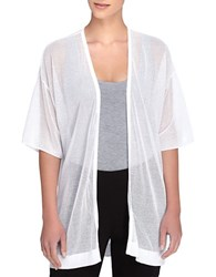 Catherine Malandrino Velma Sheer Open Knit Open Cardigan White