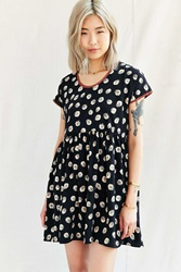 Urban Renewal Remade Printed Collar Babydoll Dress Black