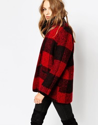 Suncoo Emma Coat In Large Check Rouge
