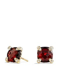 David Yurman Chatelaine Earrings With Garnet In 18K Gold Red Gold