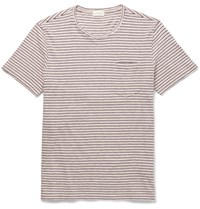 Club Monaco Striped Cotton Jersey T Shirt Blue