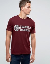 Franklin And Marshall Large Crest T Shirt Bordeaux Red