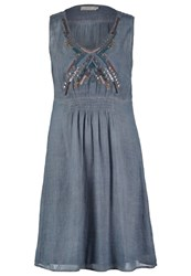 Cream Monaco Summer Dress Thunder Blue Blue Grey