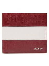 Bally Leather Lettering Stripe Bifold Wallet Red White