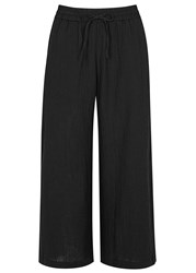 Eileen Fisher Black Organic Cotton Seersucker Culottes