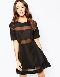 Daisy Street Skater Dress With Sheer Inserts Black