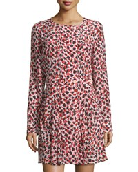 See By Chloe Printed Long Sleeve Fit And Flare Dress Red Brown