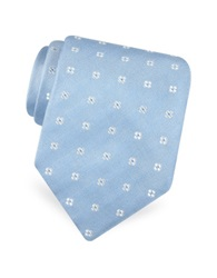 Forzieri Gold Line Rounded Flower Dots Woven Silk Tie Light Blue