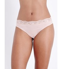 Wolford Cotton Contour Lace Tanga Briefs Rose Tan