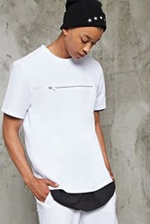 Forever 21 Zipper Front Textured Tee White