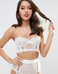 Asos Bridal Faye Satin And Lace Up Underwire Bustier Bra Ivory Cream
