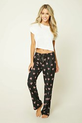 Forever 21 Flannel Heart Pizza Pj Pants Black Red