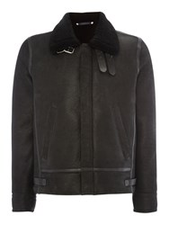 Paul Smith Men's Ps By Shearling Sheepskin Leather Flight Jacket Black