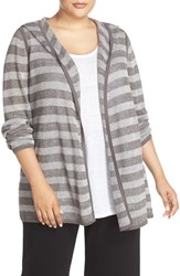 Eileen Fisher Plus Size Women's Stripe Organic Linen Hooded Open Front Cardigan