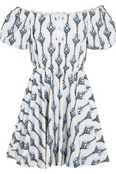Caroline Constas Bardot Off The Shoulder Embroidered Cotton Mini Dress Blue
