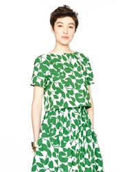 Kate Spade Garden Leaves Poplin Crop Top Lucky Green