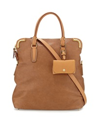 Etienne Aigner Daily Distressed Leather Fold Over Tote Sand