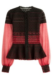 Alexander Mcqueen Knit Cardigan With Silk Red
