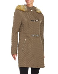 Ivanka Trump Quilted Faux Fur Trimmed Coat Truffle