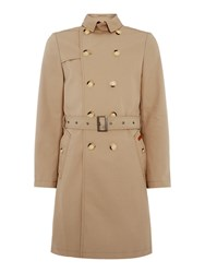 Ben Sherman Double Breasted Twill Trench Coat Beige