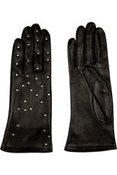 Agnelle Suzette Studded Leather Gloves Black