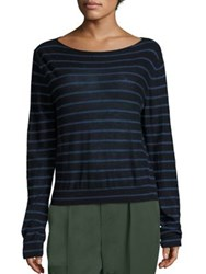 Vince Striped Cashmere Boatneck Sweater Black Lace Coastal Imperial Blue