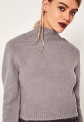 Missguided Grey Turtle Neck Fluffy Sweater